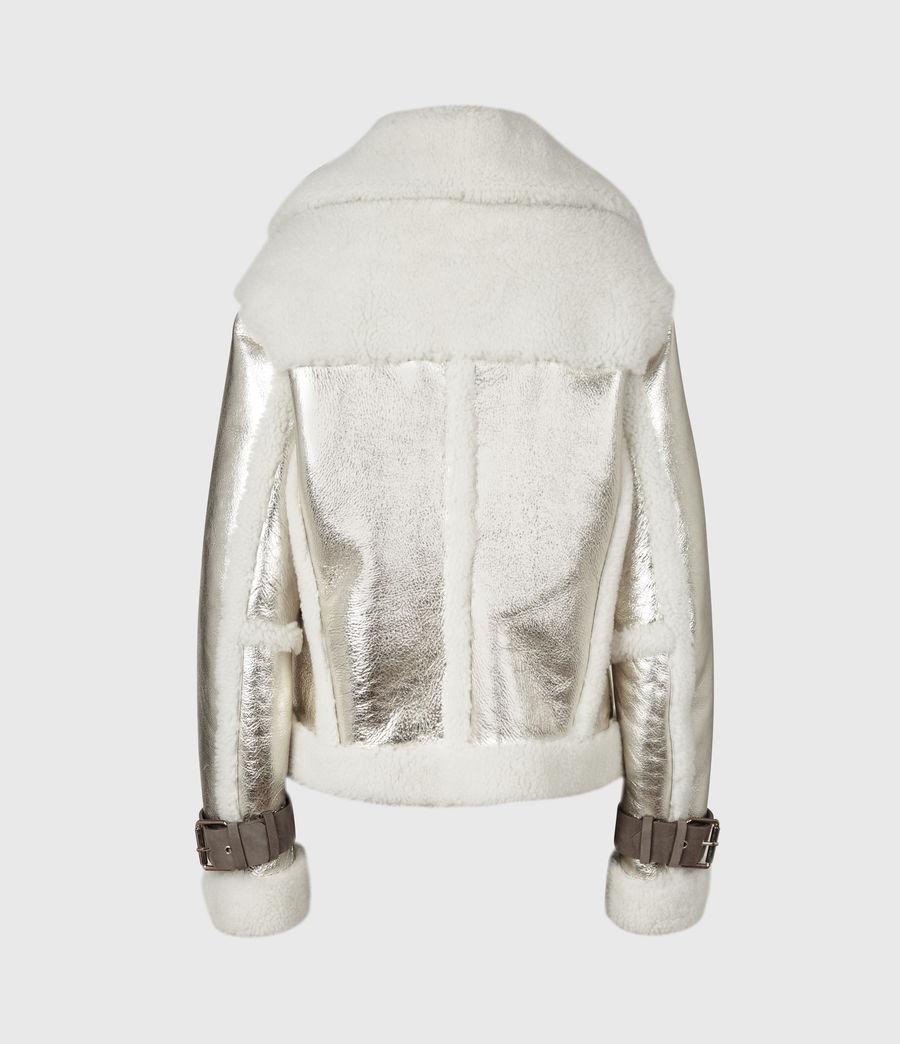 Women's Farley Metallic Shearling Jacket (bright_gold) - Image 3