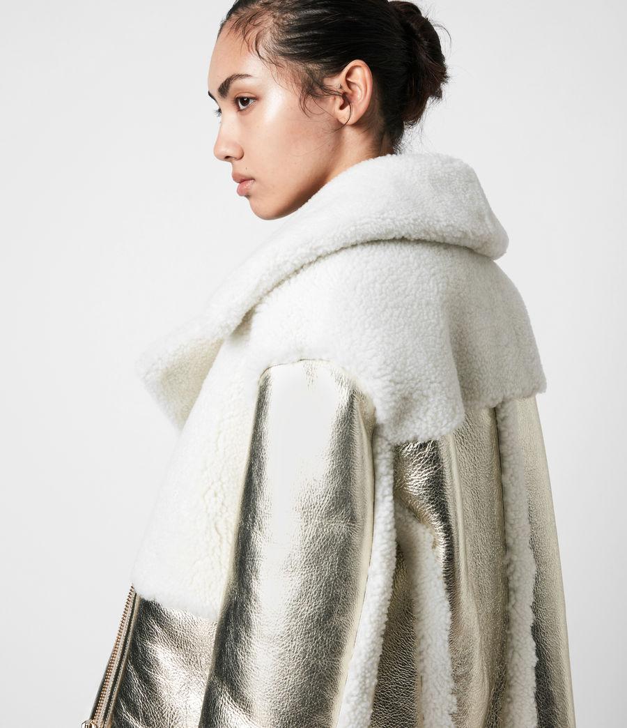 Women's Farley Metallic Shearling Jacket (bright_gold) - Image 6