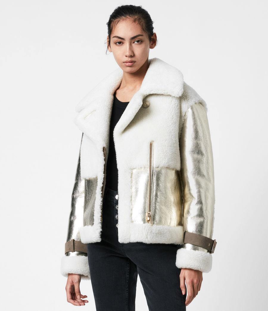 Women's Farley Metallic Shearling Jacket (bright_gold) - Image 8