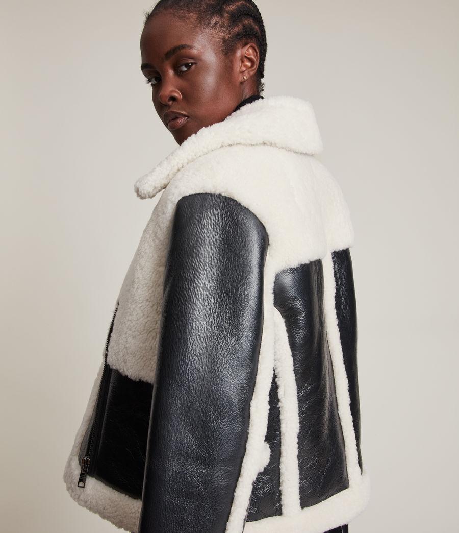 Women's Farley Metallic Shearling Jacket (gunmetal_ecru) - Image 4