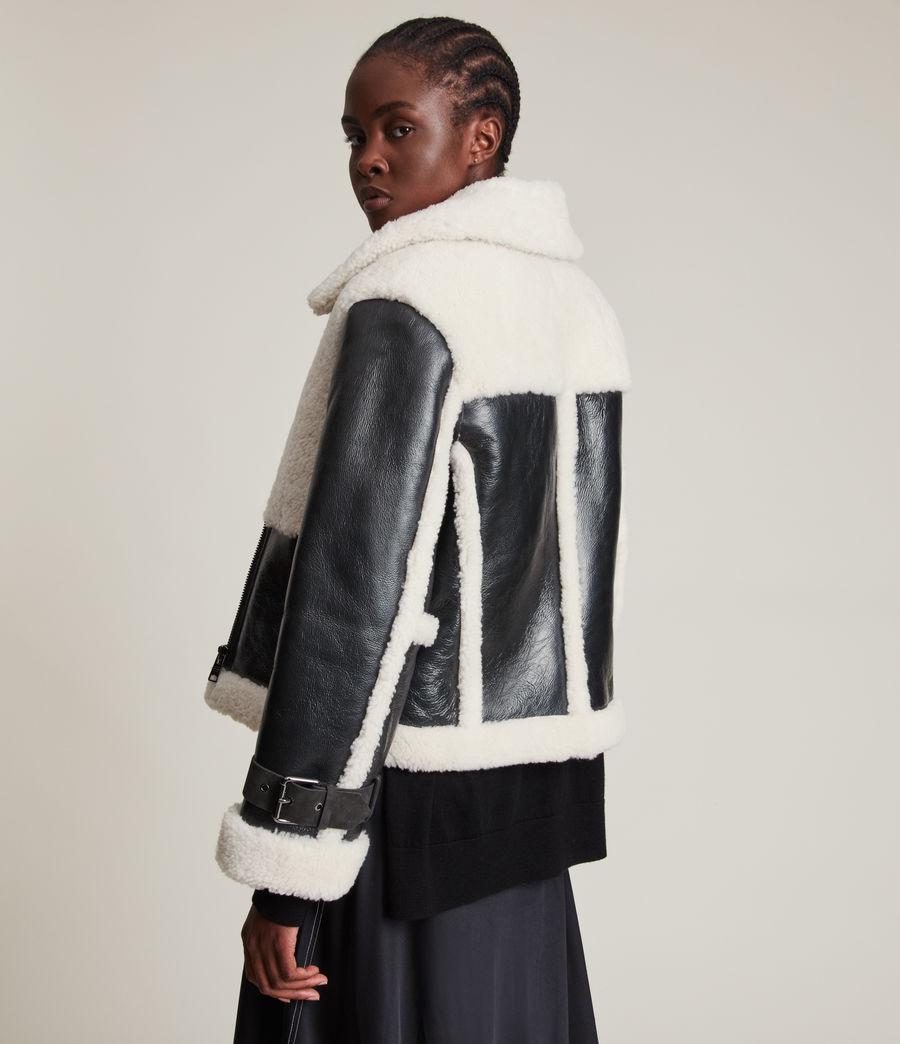 Women's Farley Metallic Shearling Jacket (gunmetal_ecru) - Image 7