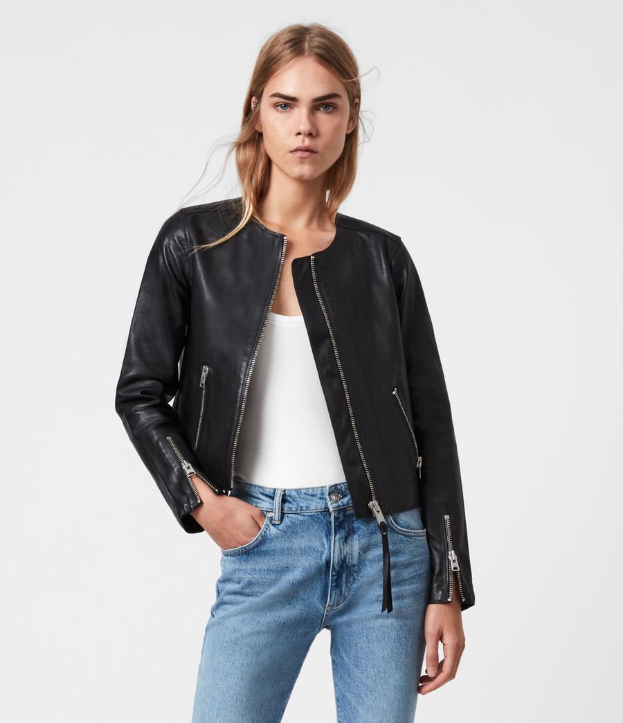 Womens Aster Leather Jacket (black) - Image 1