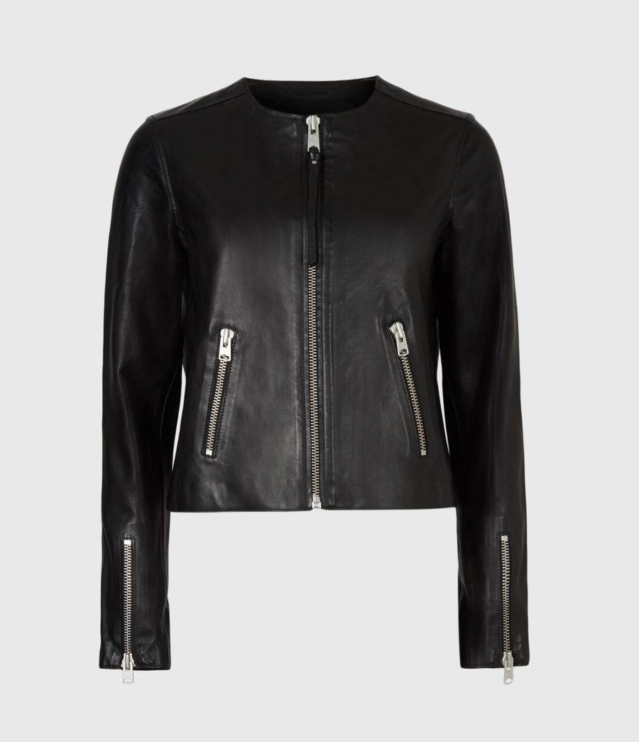 Womens Aster Leather Jacket (black) - Image 2