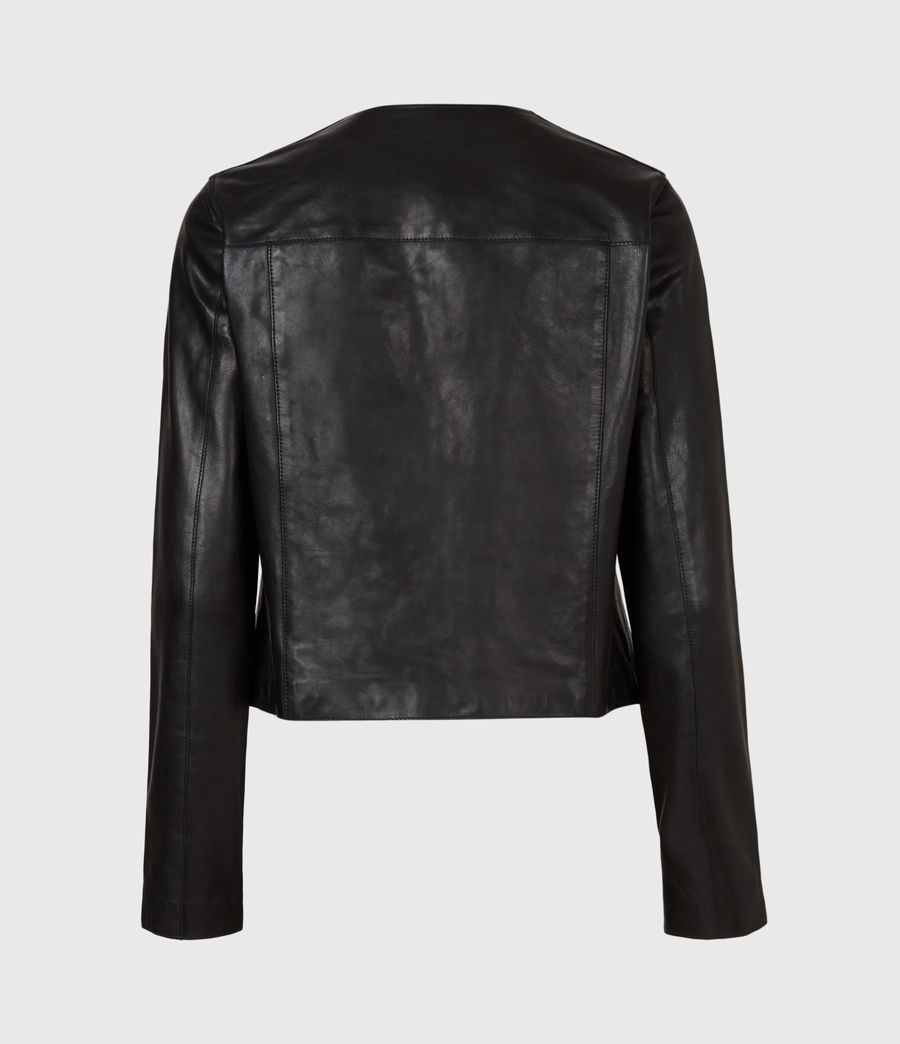 Women's Aster Leather Jacket (black) - Image 3