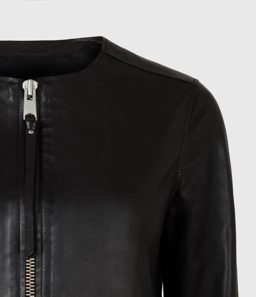 Womens Aster Leather Jacket (black) - Image 6