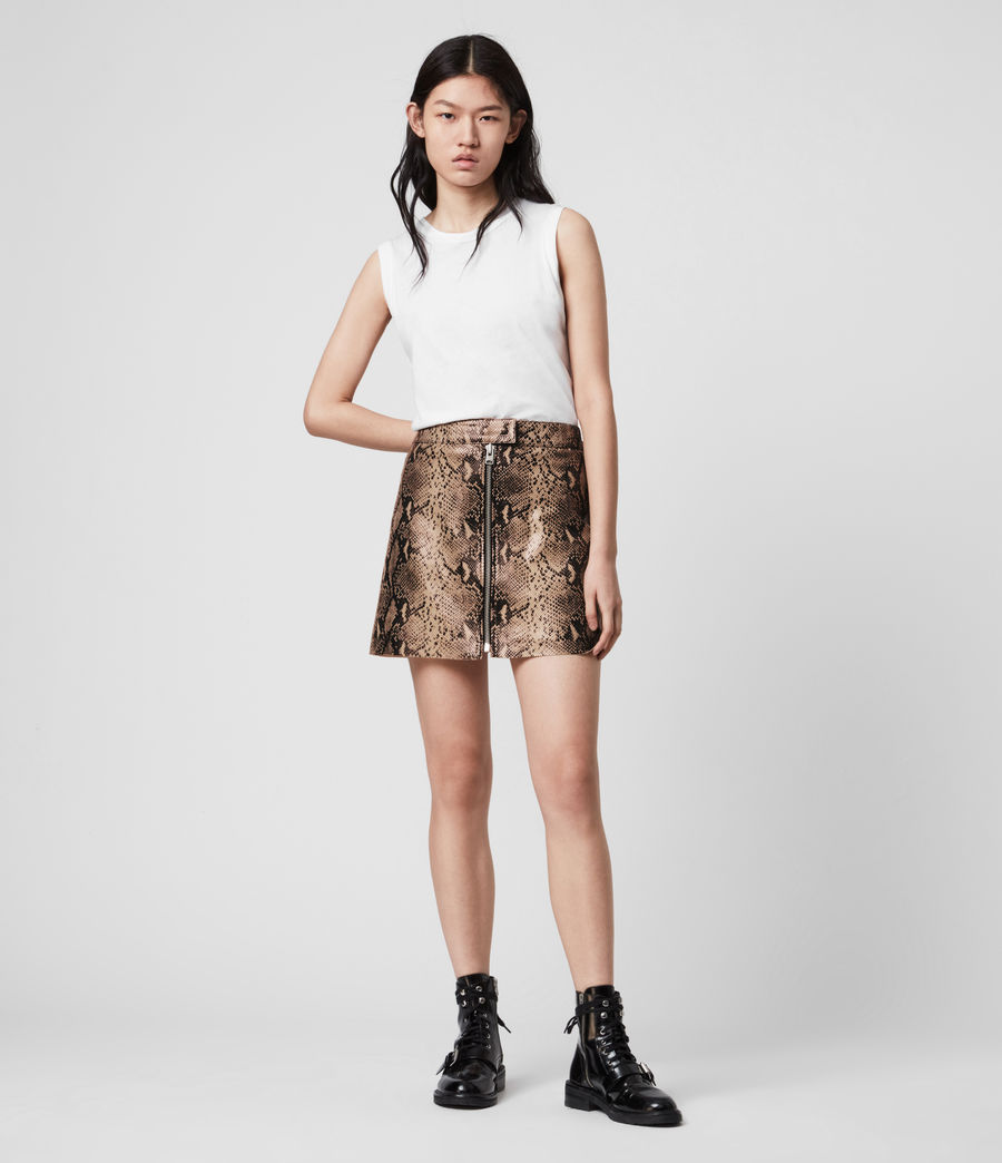 Women's Lena Oba Leather Skirt (snake_pink) - Image 1