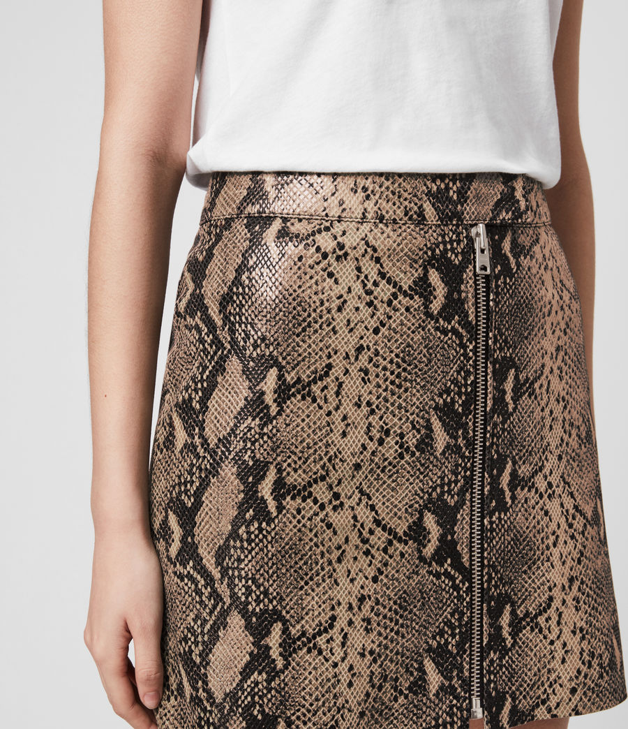 Women's Lena Oba Leather Skirt (snake_pink) - Image 2