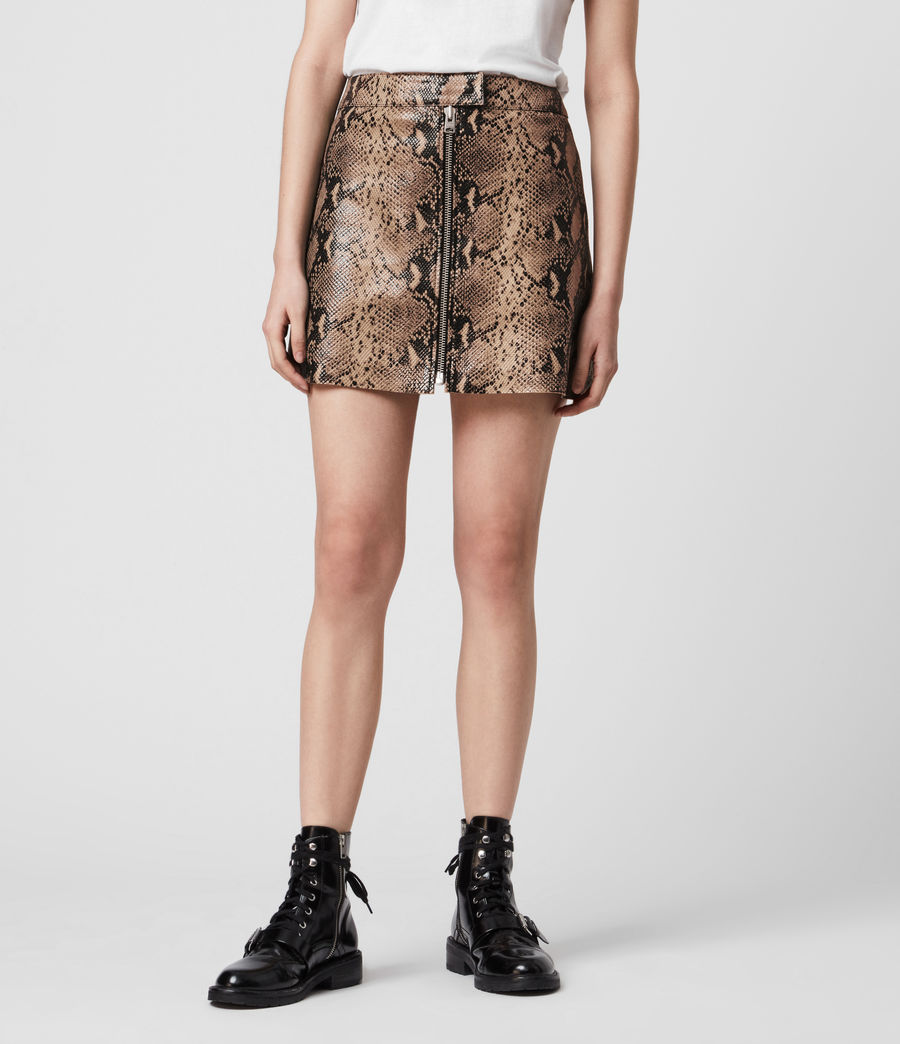 Women's Lena Oba Leather Skirt (snake_pink) - Image 3