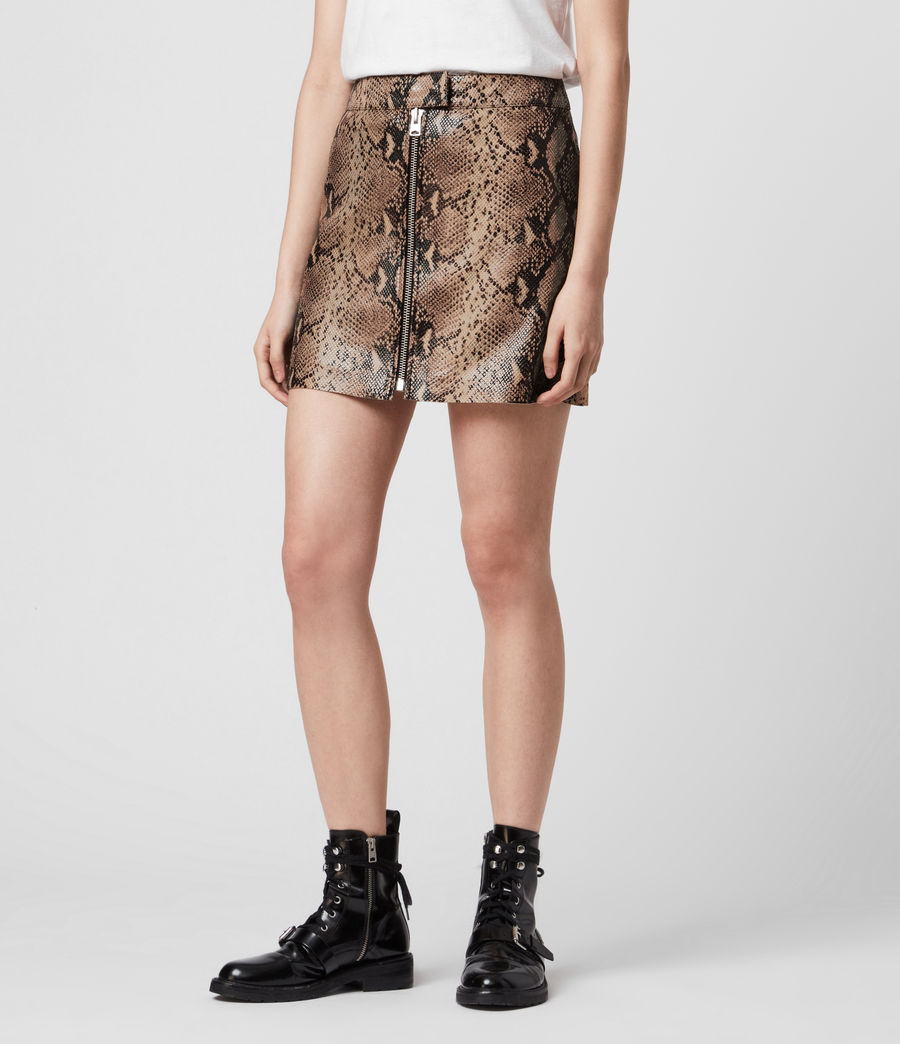 Women's Lena Oba Leather Skirt (snake_pink) - Image 4