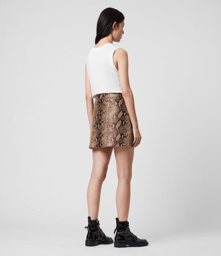 Women's Lena Oba Leather Skirt (snake_pink) - Image 5