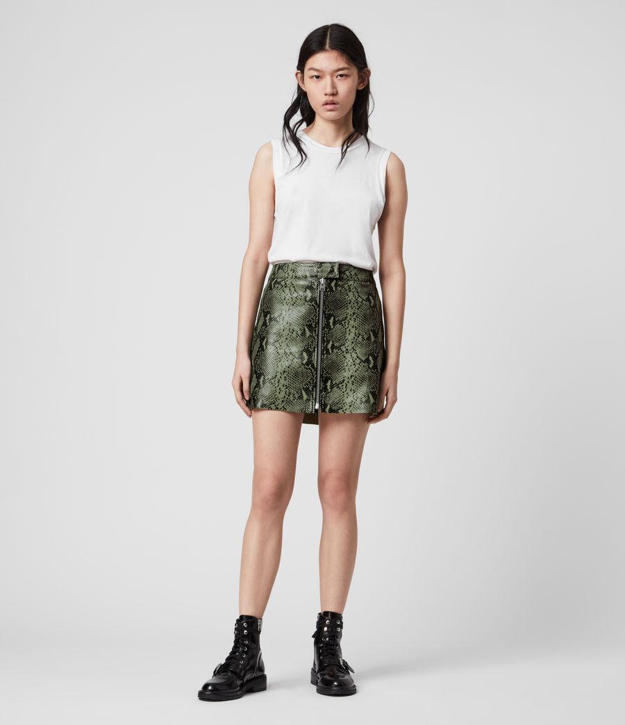 Women's Lena Oba Leather Skirt (snake_green) - Image 1