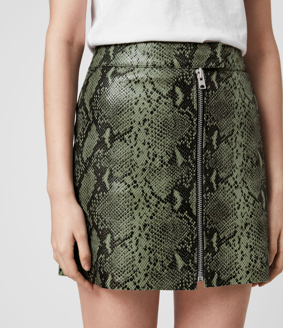 Womens Lena Oba Leather Skirt (snake_green) - Image 2