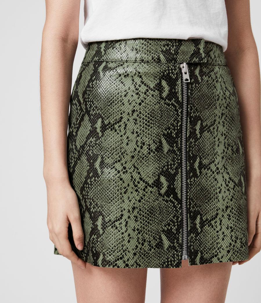 Women's Lena Oba Leather Skirt (snake_green) - Image 2