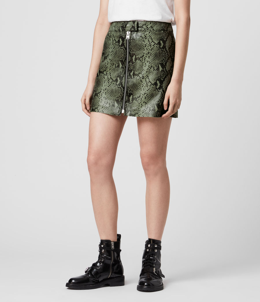 Womens Lena Oba Leather Skirt (snake_green) - Image 3