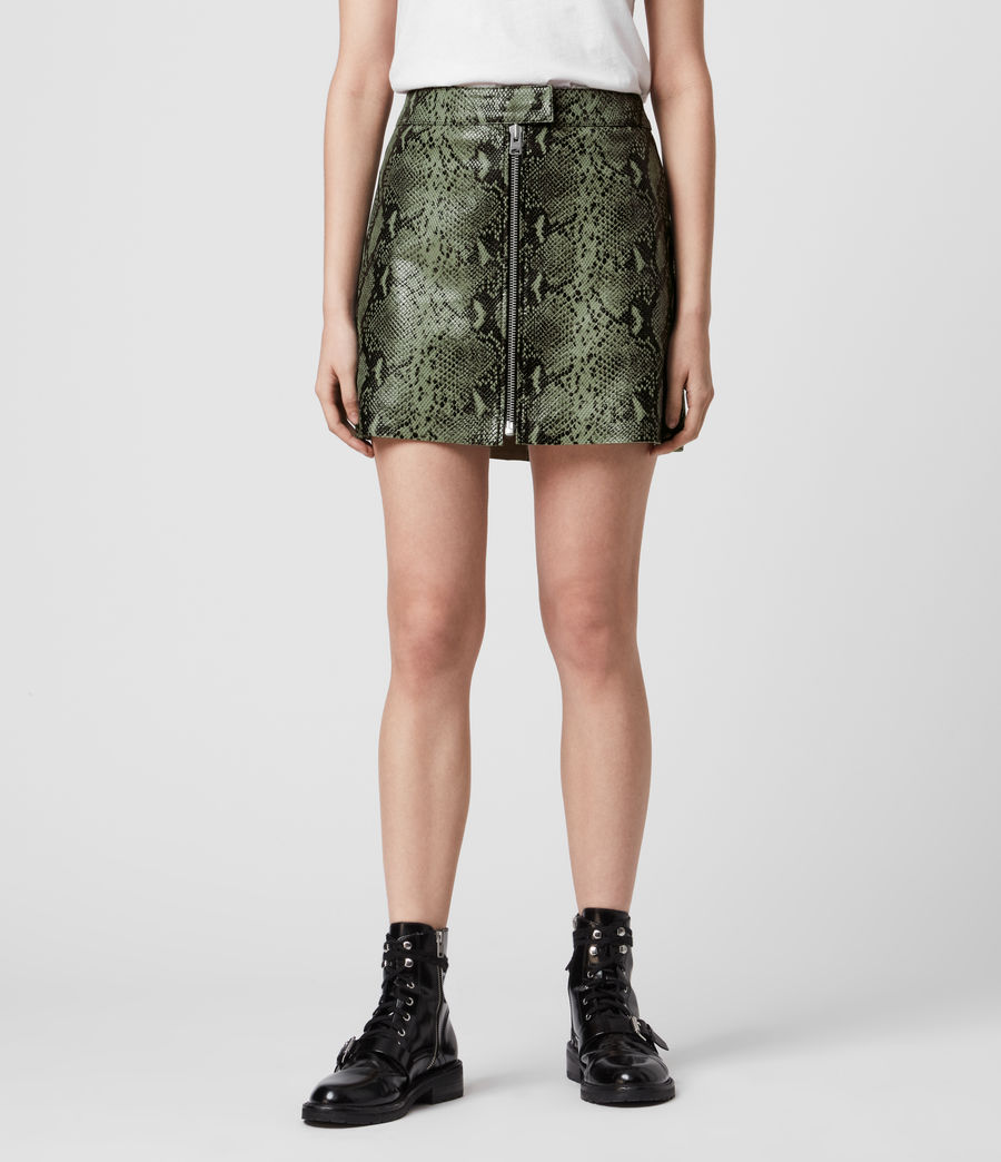 Womens Lena Oba Leather Skirt (snake_green) - Image 4