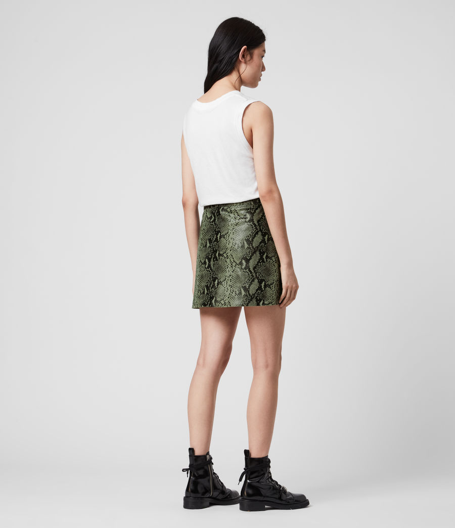Womens Lena Oba Leather Skirt (snake_green) - Image 5