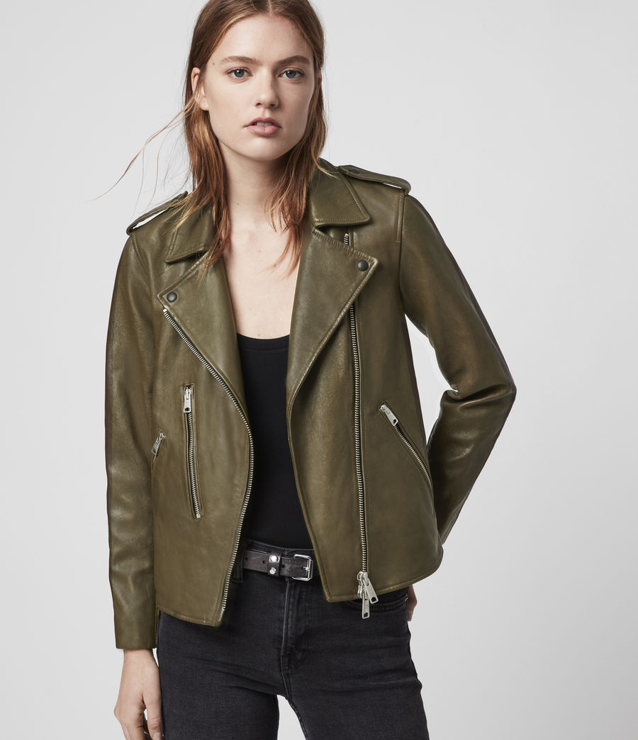 Women's Elva Leather Biker Jacket (olive_green) - Image 1