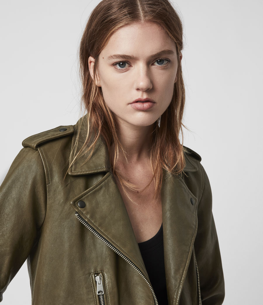 Women's Elva Leather Biker Jacket (olive_green) - Image 2