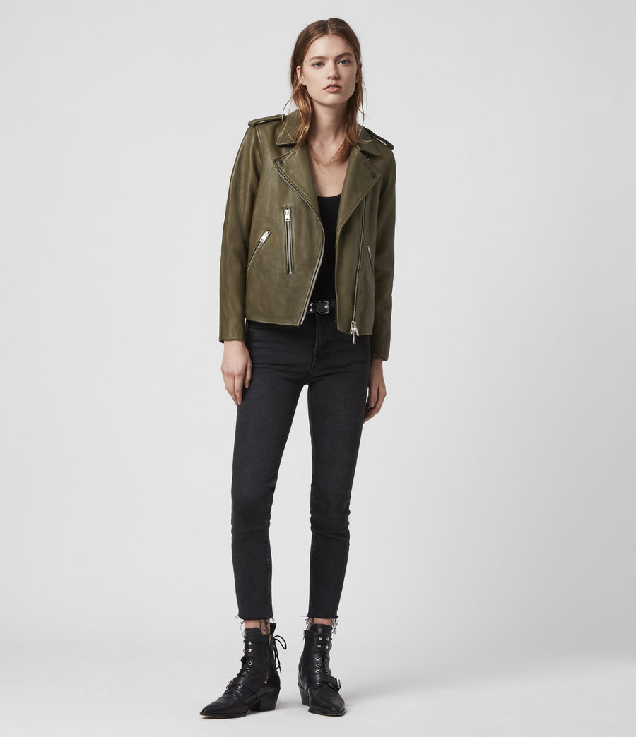 Women's Elva Leather Biker Jacket (olive_green) - Image 3