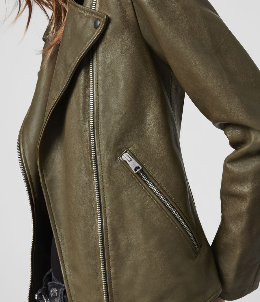 Women's Elva Leather Biker Jacket (olive_green) - Image 5