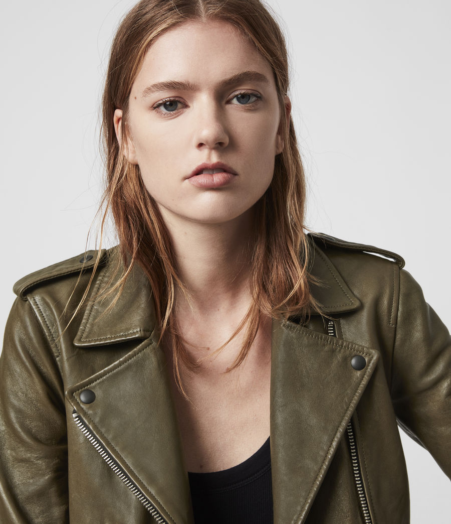 Women's Elva Leather Biker Jacket (olive_green) - Image 6