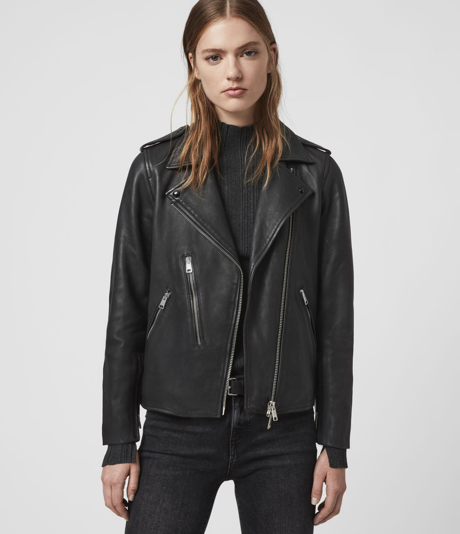 Womens Elva Leather Biker Jacket (black) - Image 1