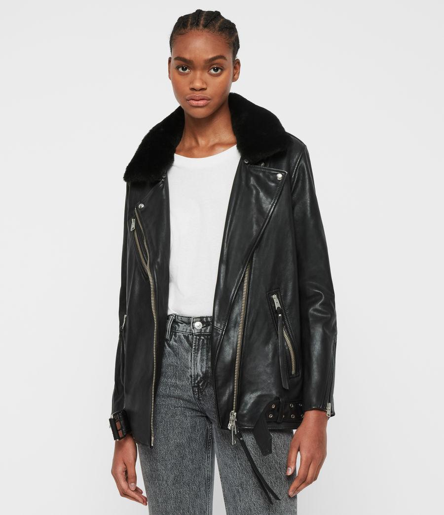 Women's Kait Oversized Leather Biker Jacket (black) - Image 1
