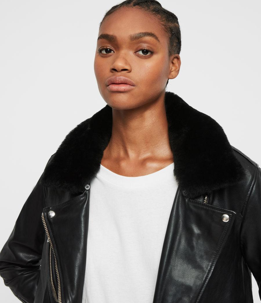 Women's Kait Oversized Leather Biker Jacket (black) - Image 2