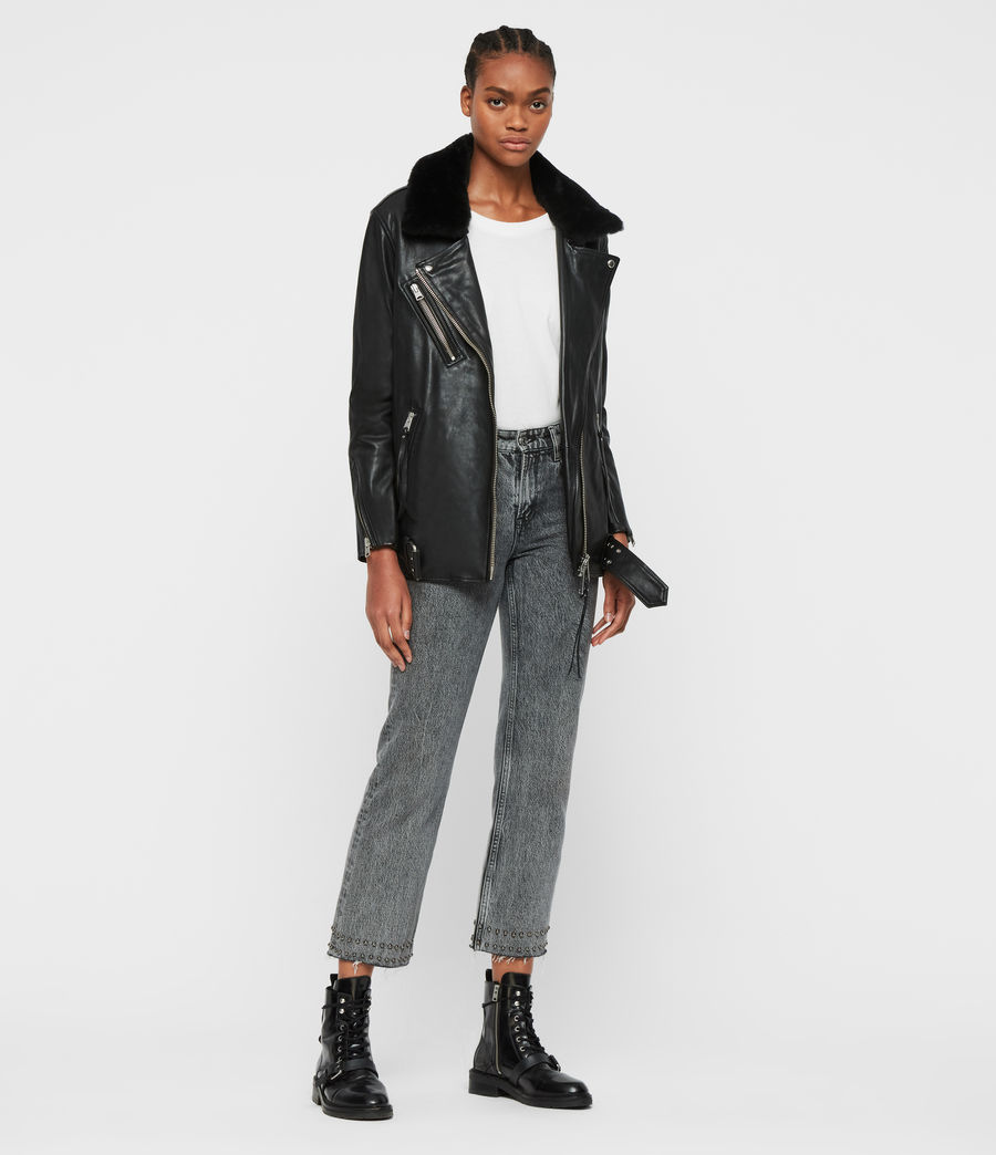 Women's Kait Oversized Leather Biker Jacket (black) - Image 3