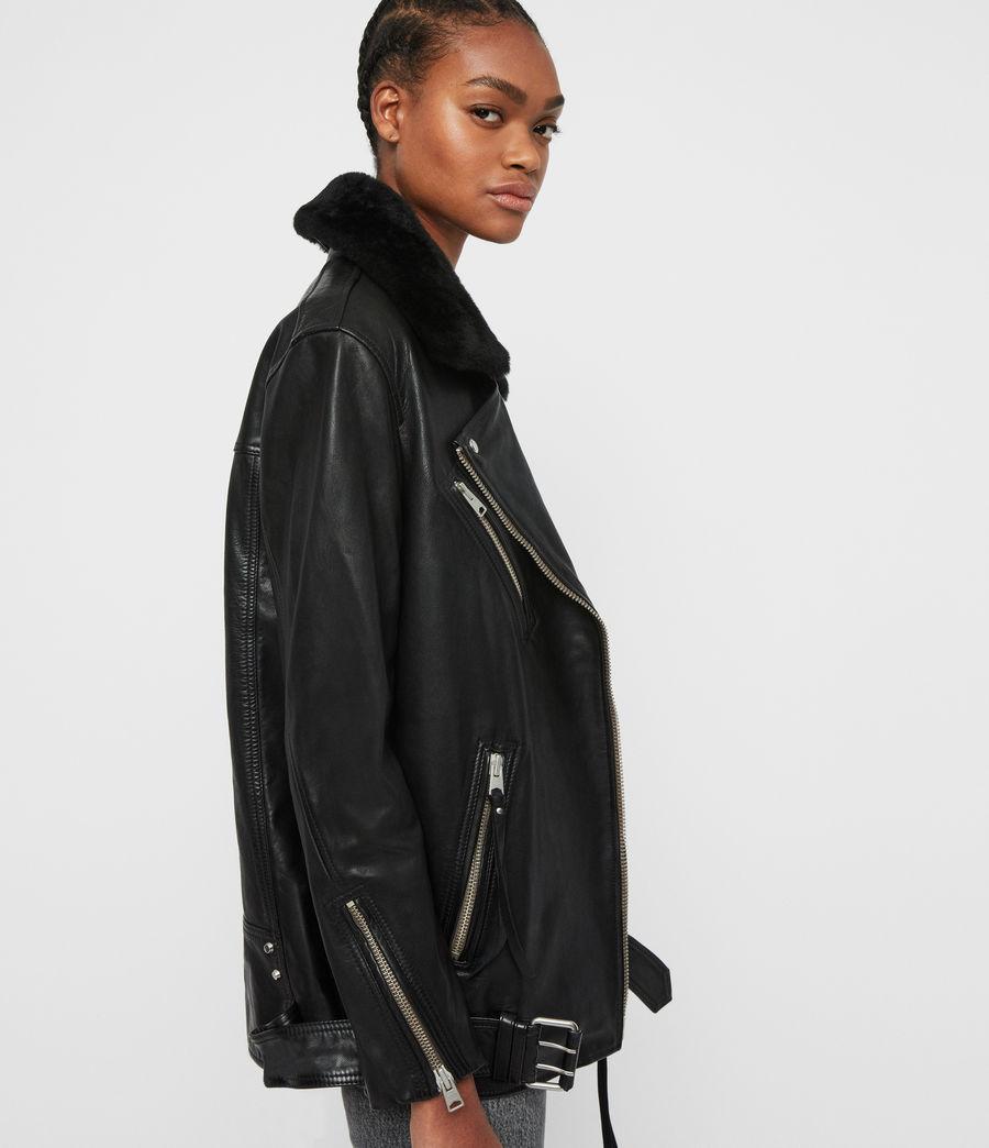 Women's Kait Oversized Leather Biker Jacket (black) - Image 4
