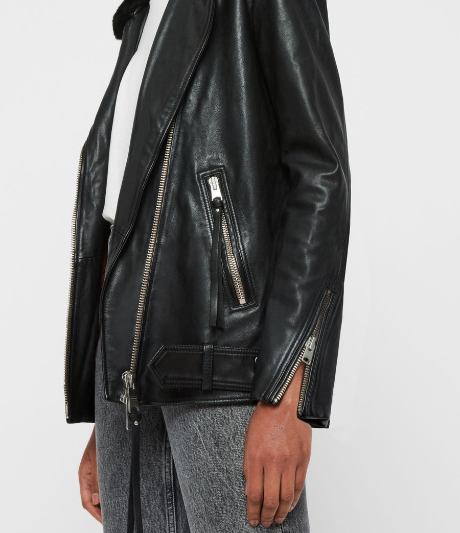 Women's Kait Oversized Leather Biker Jacket (black) - Image 5