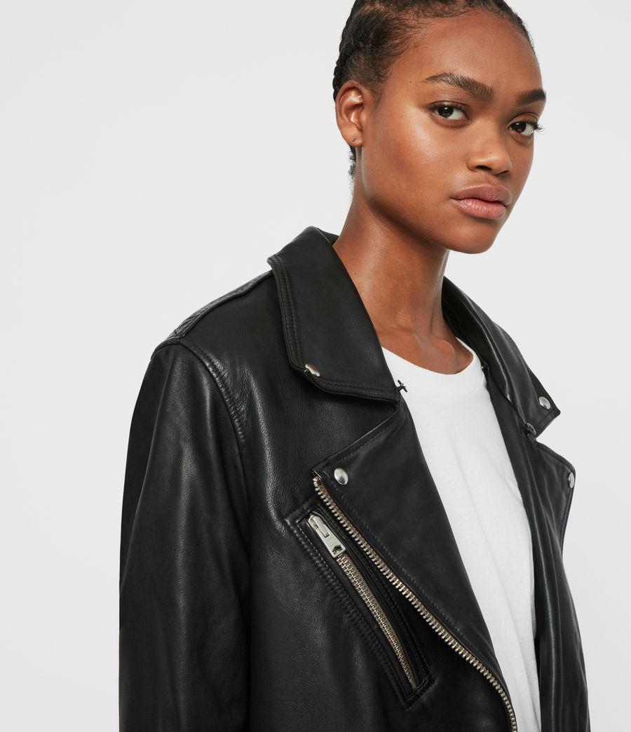 Women's Kait Oversized Leather Biker Jacket (black) - Image 6