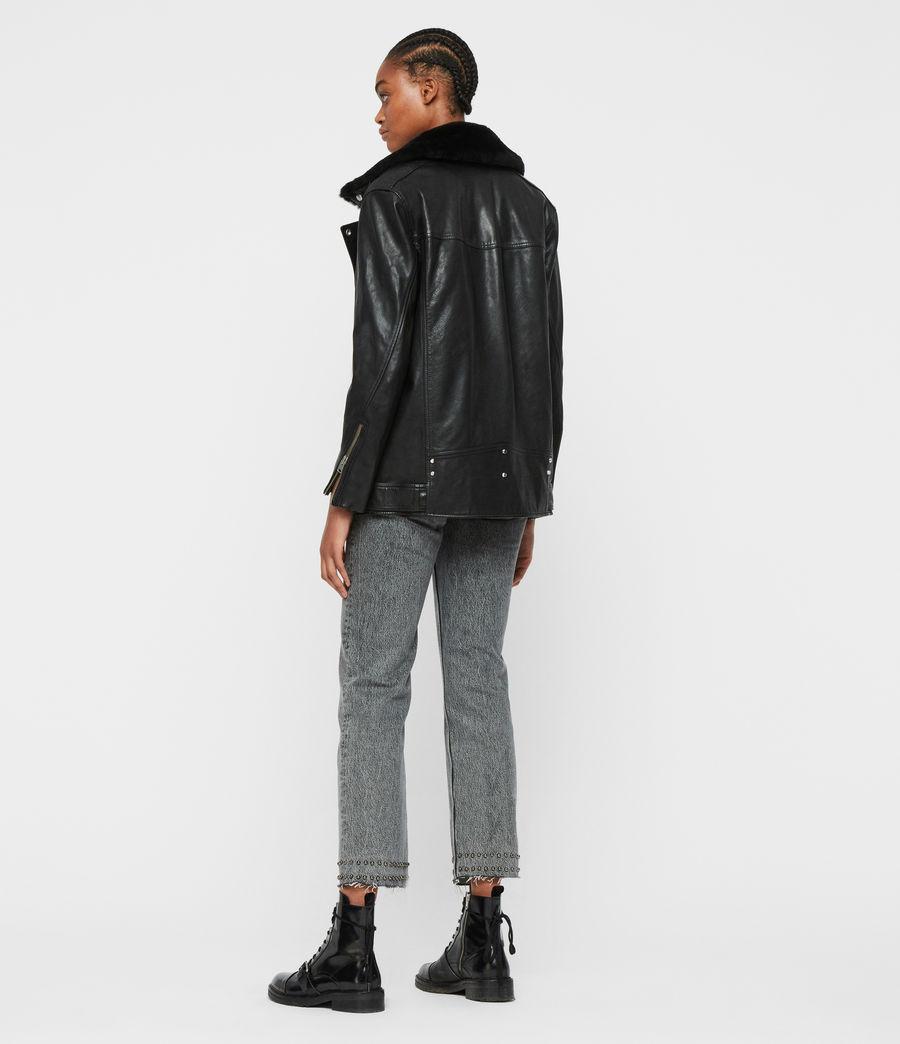 Women's Kait Oversized Leather Biker Jacket (black) - Image 7