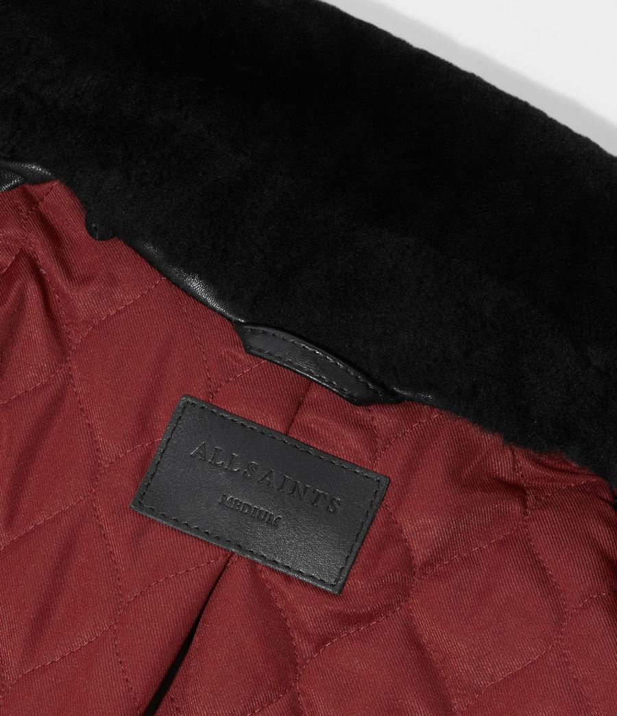Women's Kait Oversized Leather Biker Jacket (black) - Image 8