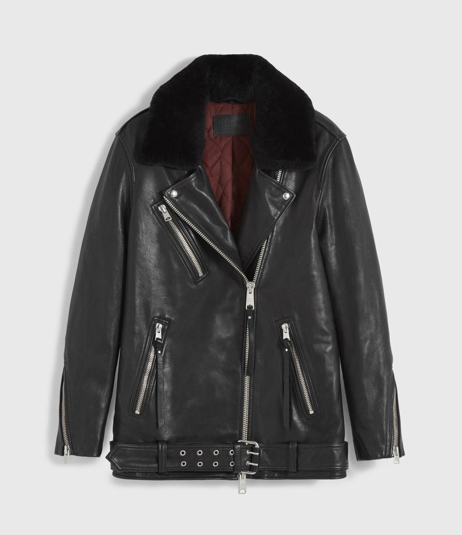 Women's Kait Oversized Leather Biker Jacket (black) - Image 9