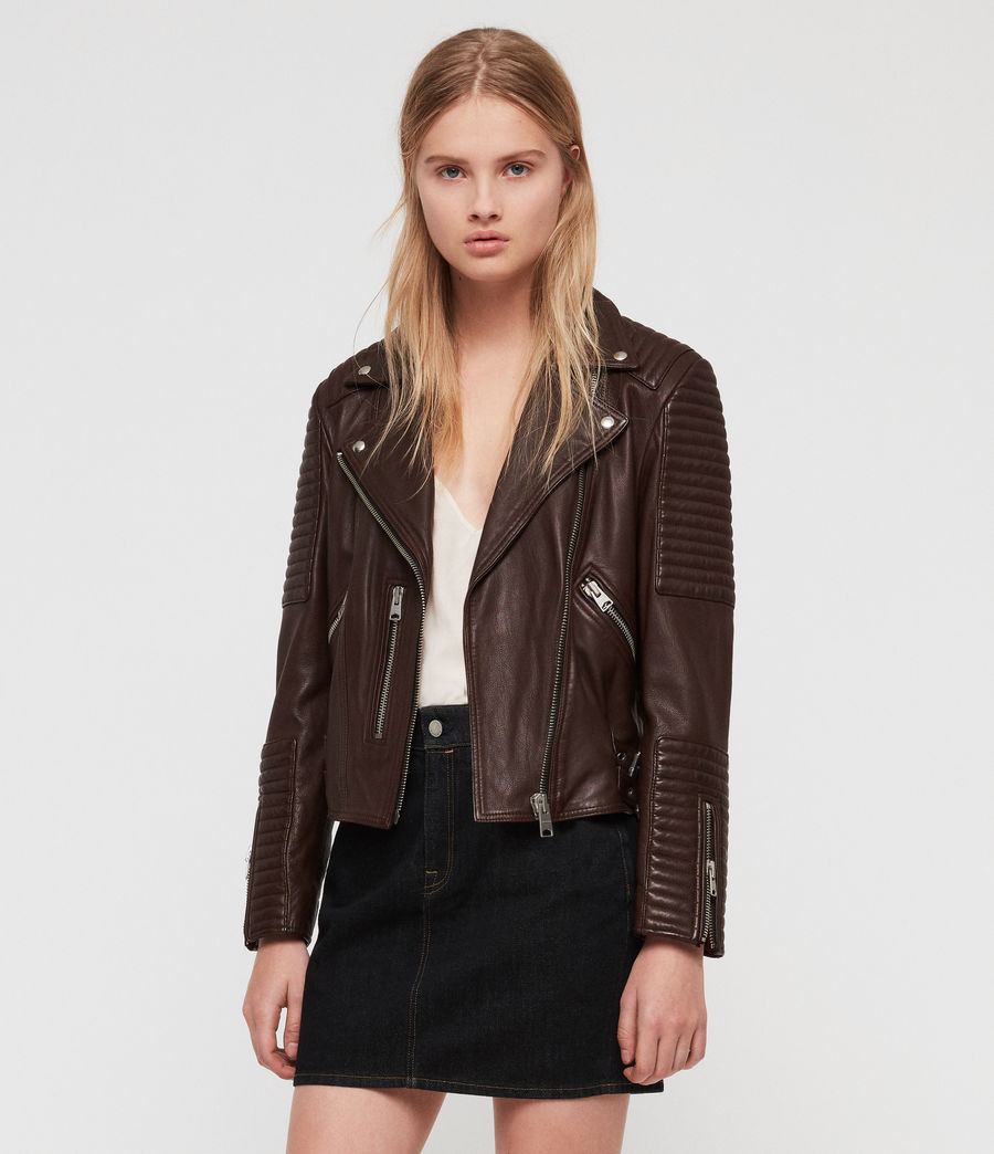 Women's Estella Leather Biker Jacket (bordeaux_red) - Image 1