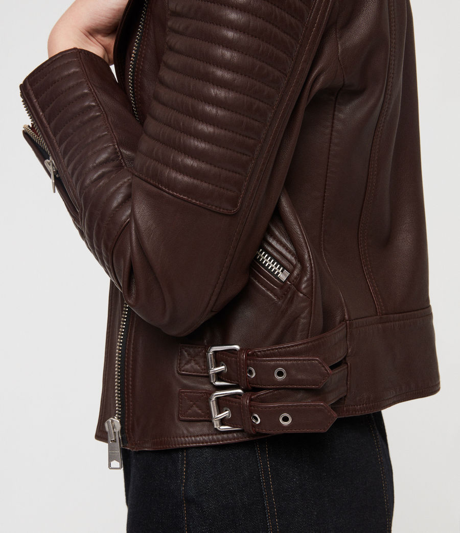 Womens Estella Leather Biker Jacket (bordeaux_red) - Image 2