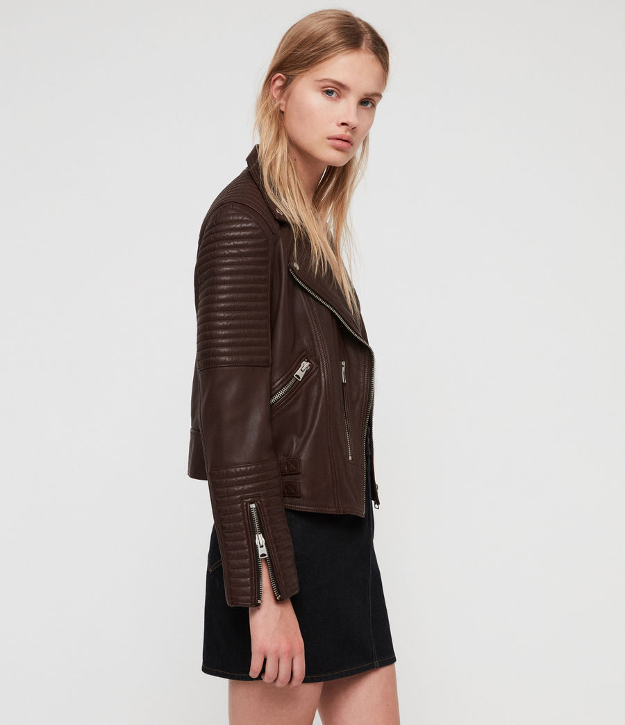 Women's Estella Leather Biker Jacket (bordeaux_red) - Image 3