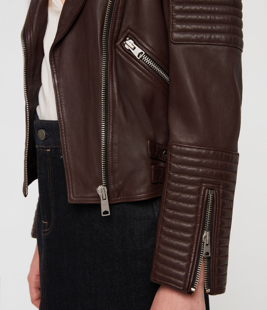 Women's Estella Leather Biker Jacket (bordeaux_red) - Image 5