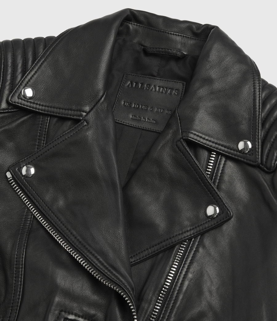Women's Estella Leather Biker Jacket (black) - Image 10