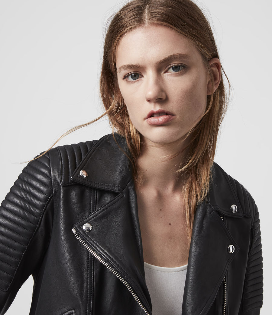 Womens Estella Leather Biker Jacket (black) - Image 2