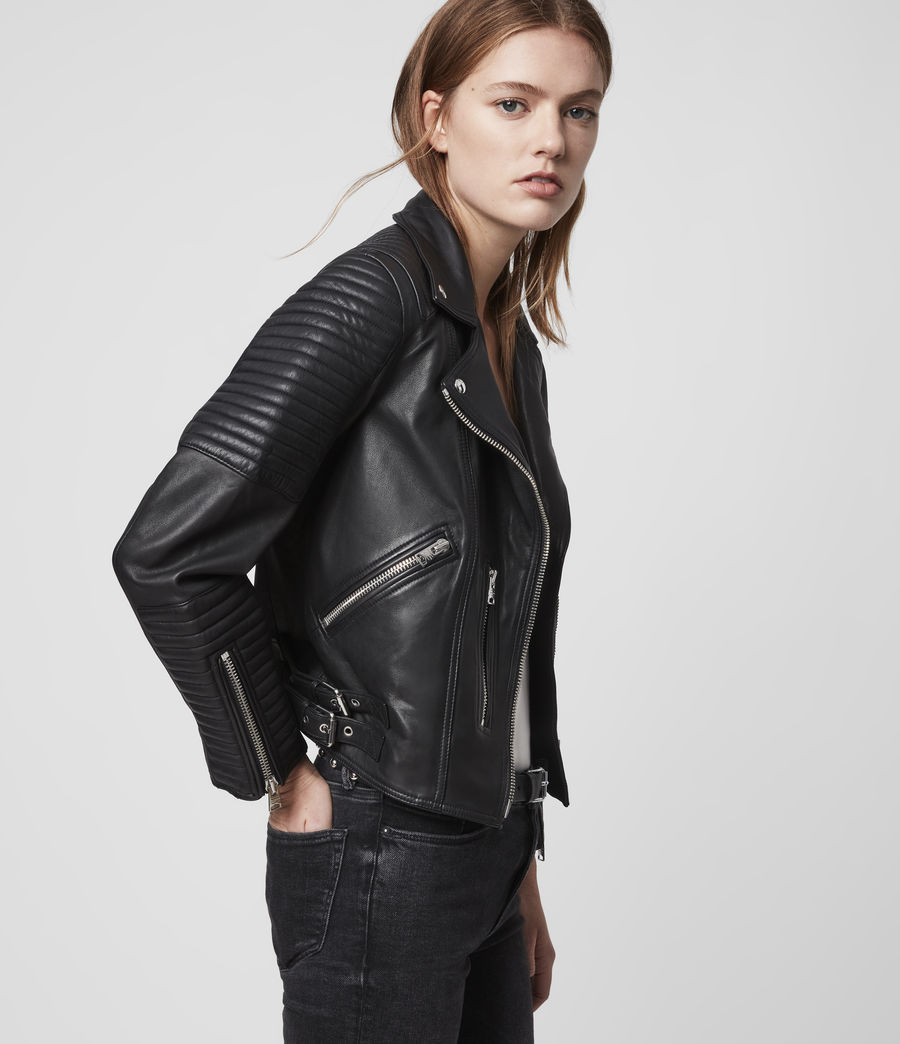 Women's Estella Leather Biker Jacket (black) - Image 4