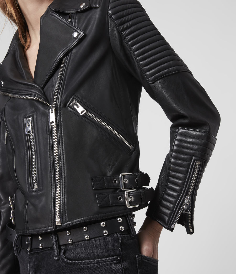 Womens Estella Leather Biker Jacket (black) - Image 3