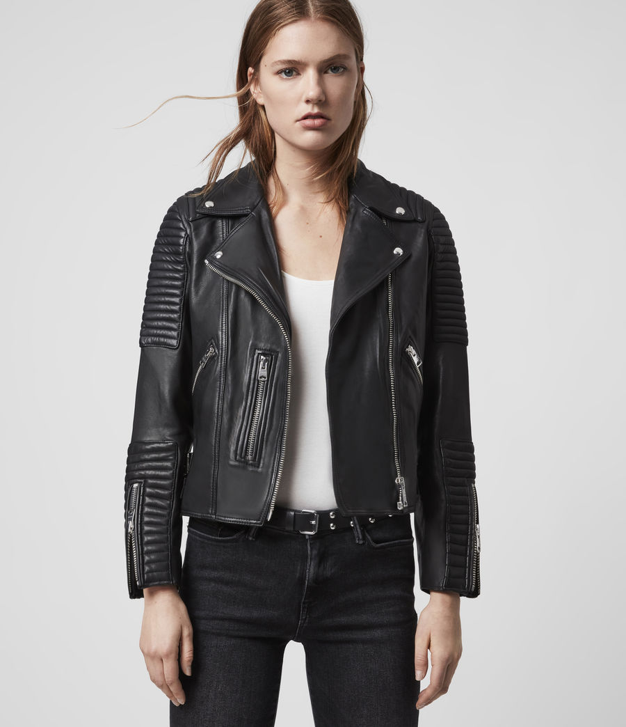 Women's Estella Leather Biker Jacket (black) - Image 7