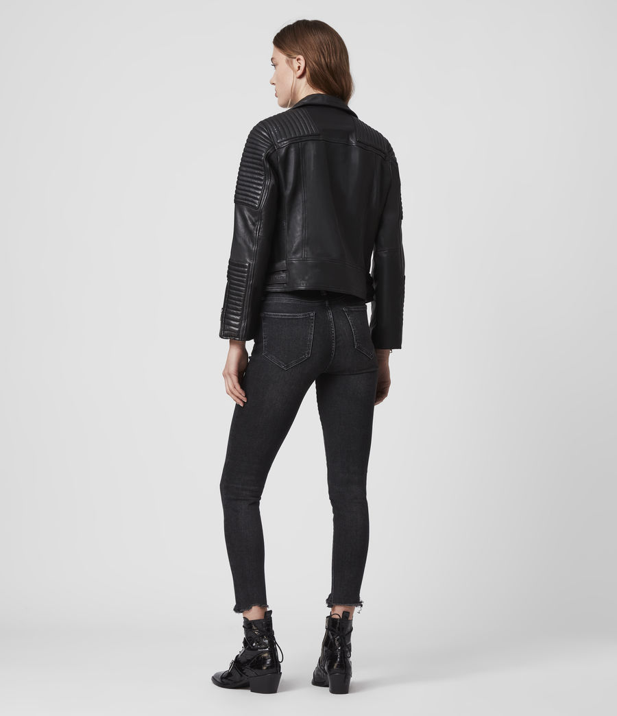 Women's Estella Leather Biker Jacket (black) - Image 8