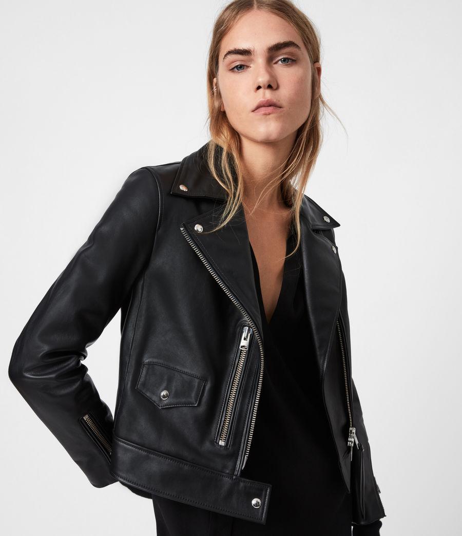 Women's Suki Leather Biker Jacket (black) - Image 1