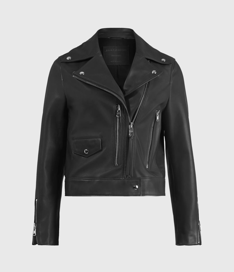 Women's Suki Leather Biker Jacket (black) - Image 2