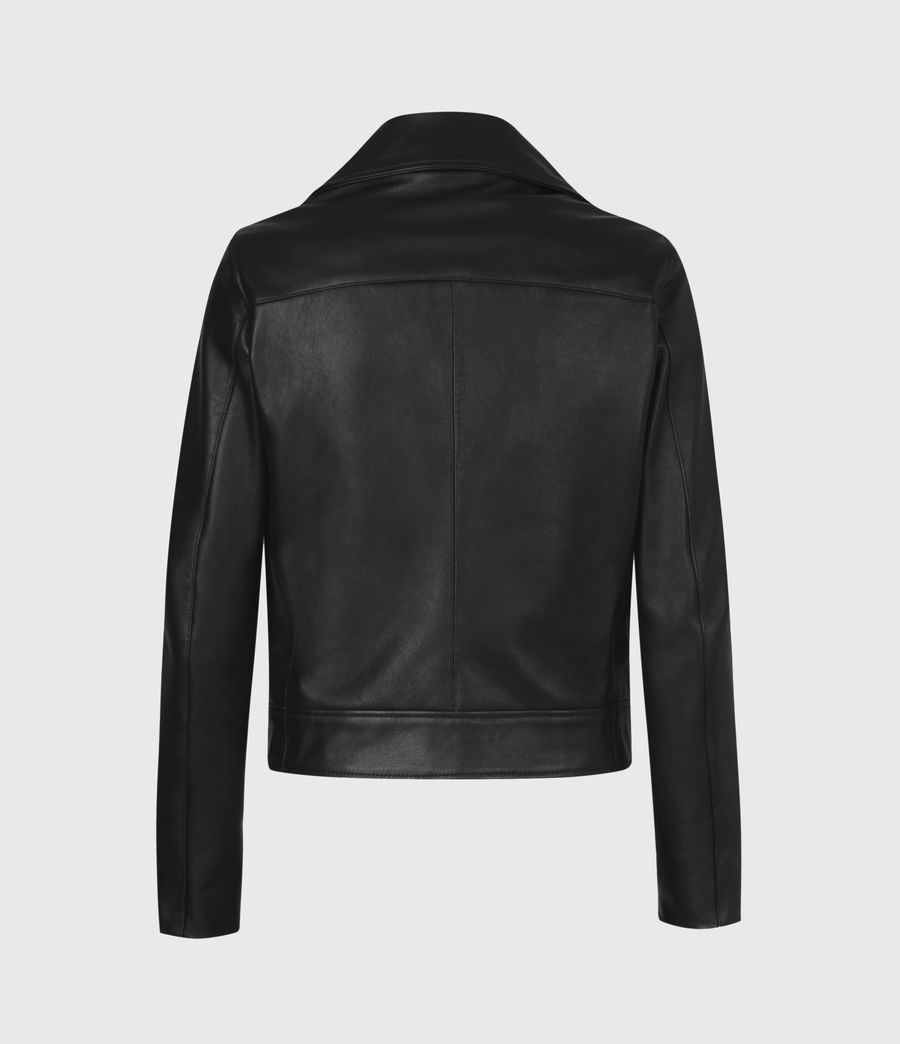 Women's Suki Leather Biker Jacket (black) - Image 3
