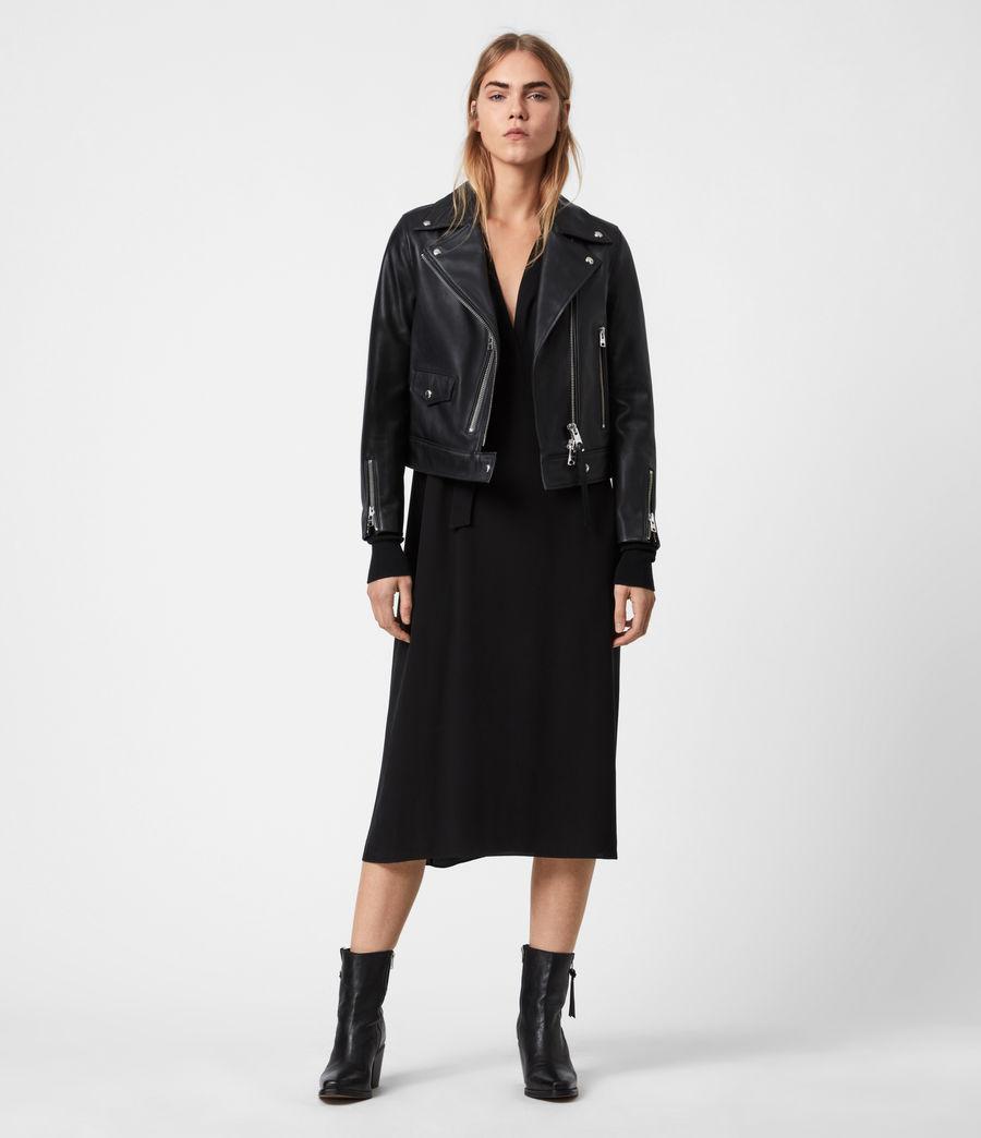 Women's Suki Leather Biker Jacket (black) - Image 4