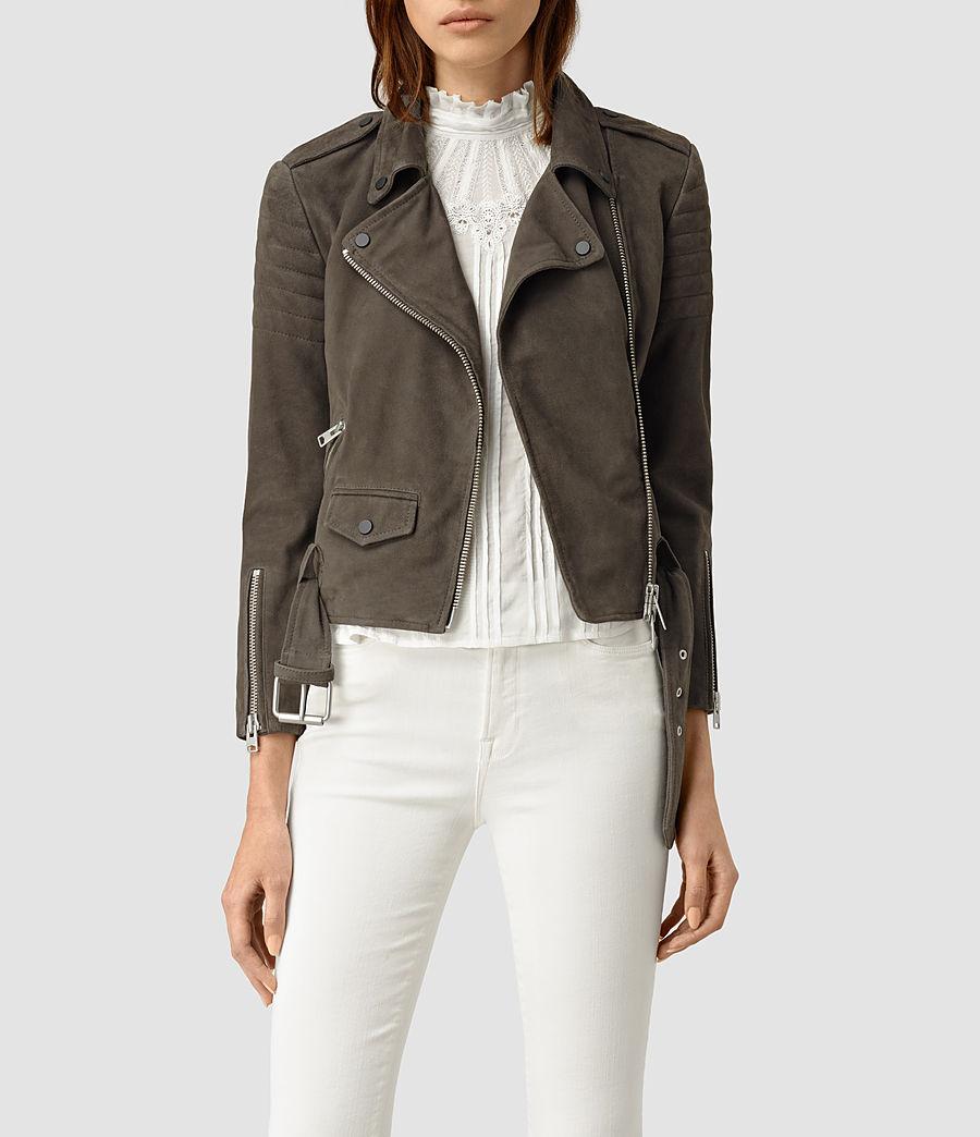 Womens Hitchen Suede Biker Jacket (graphite) - Image 1